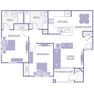 2 bed 2 bath floor plan, kitchen and dining room, living room, patio, 3 closets