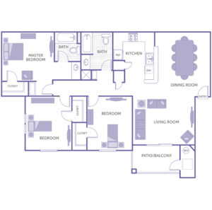3 bed 2 bath floor plan, kitchen, dining room, living room, balcony, 3 walk-in closets, 2 closets