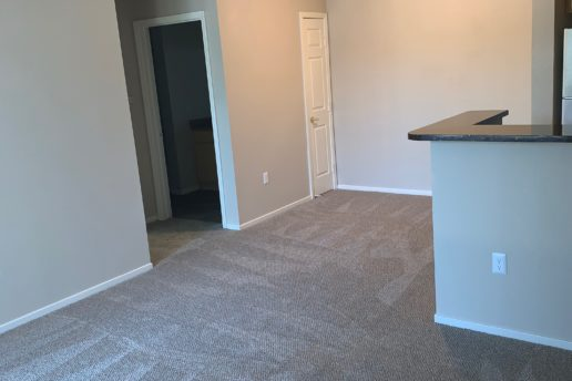 Kitchen island facing carpeted dining and living area, hallway