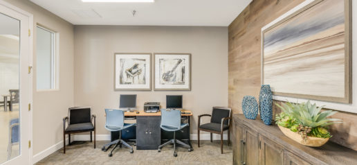 Office space with natural light, tasteful decor